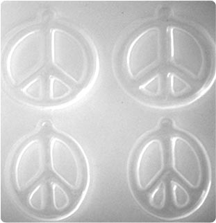 Resin Mould - Peace Signs, Round & Oblong (2-pairs-on-1) 49mm & 52x39mm