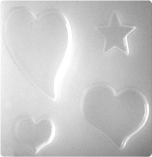 Resin Mould - Hearts & Star (4-on-1) 74mm - 28mm