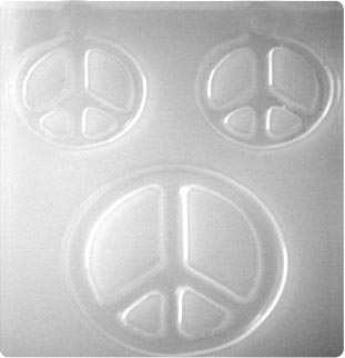Resin Mould - Peace Signs, Pendant & Earrings (3-on-1) 58mm & 41mm