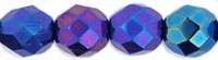 Czech Glass Fire Polished beads 8mm - x25 Iris Blue