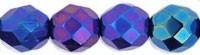 Czech Glass Fire Polished beads 8mm - x25 Iris Blue
