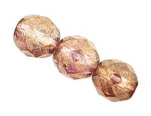 Czech Glass Fire Polished beads 10mm Lustre Transparent Topaz Pink x25