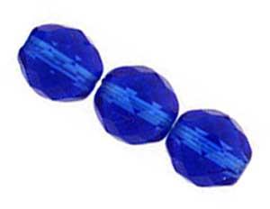 Czech Glass Fire Polished beads 10mm Cobalt x25