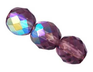 Czech Glass Fire Polished beads 10mm Amethyst Light AB x25