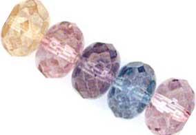 Czech Glass Fire Polished beads 11/7mm Roundel x5 Lustre Transparent Mix