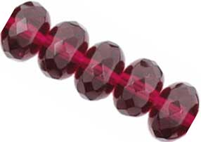 Czech Glass Fire Polished beads 11/7mm Roundel x1 Fuchsia