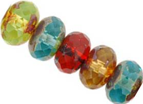 Czech Glass Fire Polished beads 11/7mm Roundel x5 Multi-Colour Picasso