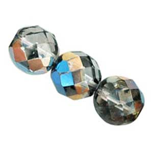 Czech Glass Fire Polished beads - 12mm Prismatic Blue Hematite x1