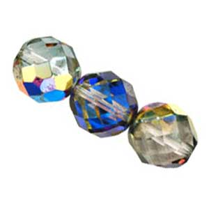 Czech Glass Fire Polished beads - 12mm Prismatic Marea x1