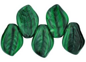 Czech Leaf Beads 14x9mm Green & Black Bead x1