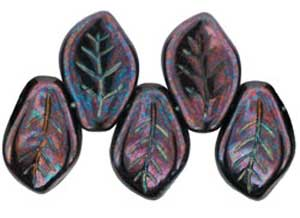 Czech Leaf Beads 14x9mm Lustre Metallic Amethyst Bead x1