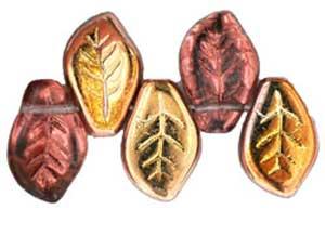 Czech Leaf Beads 14x9mm Copper Mid Amethyst Bead x1