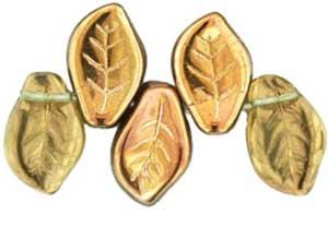 Czech Leaf Beads 14x9mm Copper Peridot Bead x1