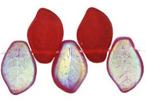 Czech Leaf Beads 14x9mm Siam Ruby AB  Bead x1