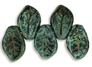 Czech Leaf Beads 14x9mm Jet Picasso Bead x1
