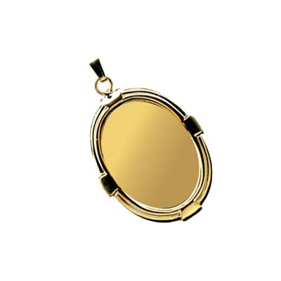 Gold Plated 25x18mm Oval Cameo Cabochon Pendant Setting x1