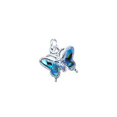 Abalone Shell Butterfly Charm - Silver Tone 13.5x13mm