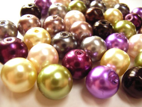 Faux Pearls 10mm Glass Beads x40 Soup Mix A