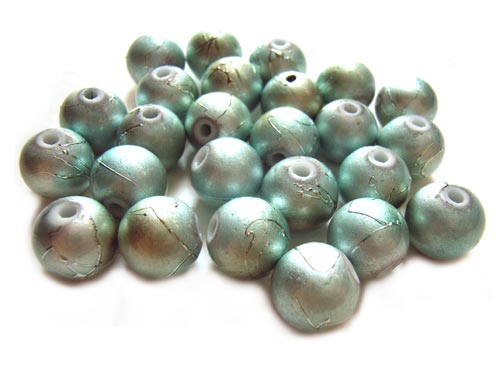 Round Glass Spectra Beads 10mm ~ Silvery Aqua Blue