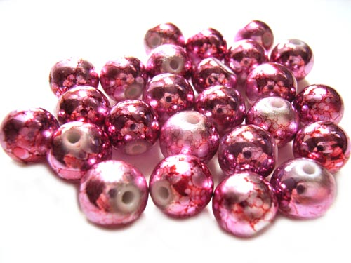 Round Glass Beads 10mm ~ Pink Marbled Metallic