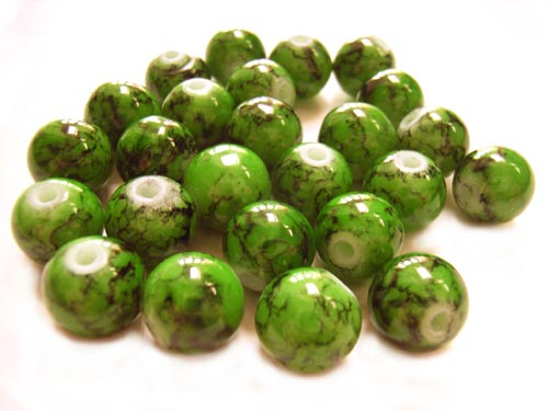 Round Glass Beads 10mm ~ Green Marbled