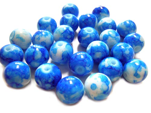 Round Glass Beads 10mm ~ Blue Marbled