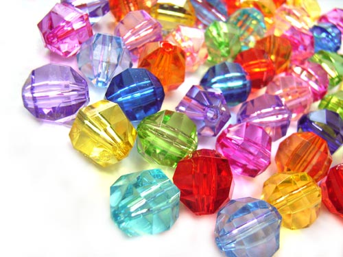 Acrylic Transparent 10x8.5mm Faceted Round Beads 25g (x52pc) Soup Mix
