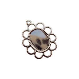 Silver Plated 11x6.7mm Pendant Setting for 10x8mm Oval Cabochons x1