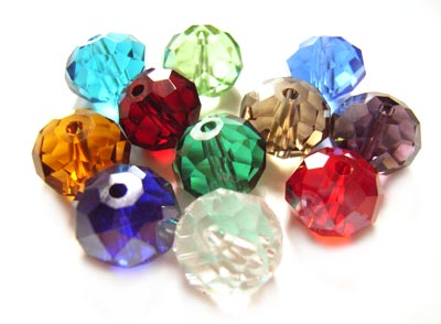 Imperial Crystal Roundelle Beads 10x8mm Jewelled Hues Mix