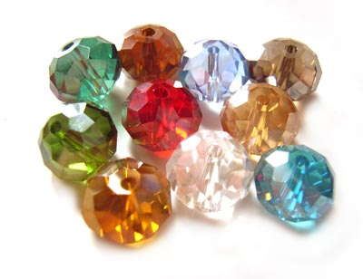 Imperial Crystal Roundelle Beads 10x8mm Multi Mixed AB (70pc approx)