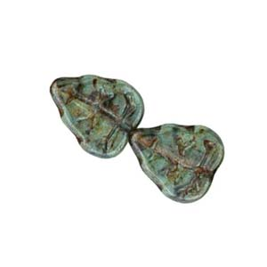 Czech Oak Leaf Beads 10x8mm Lustre Transparent Green x25