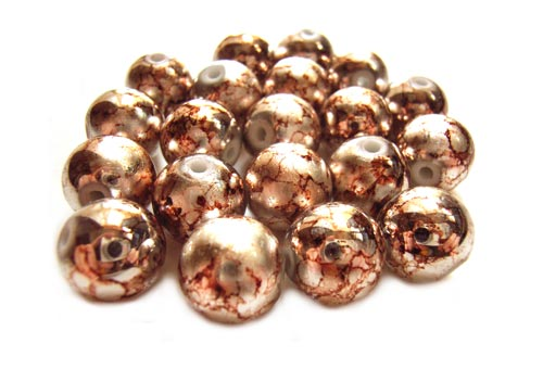 Round Glass Beads 12mm ~ Coffee Marbled Metallic