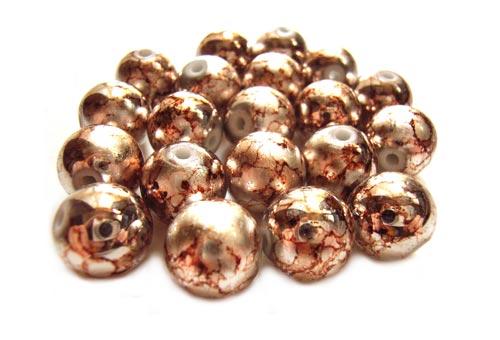 Round Glass Beads 12mm ~ Coffee Marbled Metallic