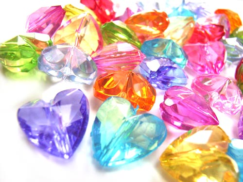Acrylic Transparent 12.5x12mm Faceted Heart Beads 25g (x43pc) Soup Mix