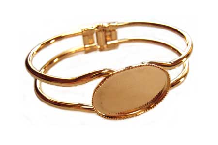 Gold Plated Double Bar Spring Bangle Setting for 18x13mm Oval Cabochons x1