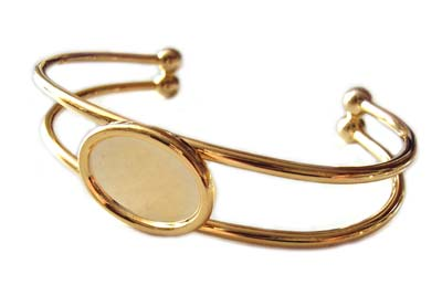 Gold Plated Bangle Settings for 18x13mm Oval Cabochons x1
