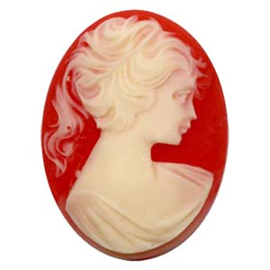 Cameo Cabochon - Acrylic 40x30mm Oval Profile of Lady (Style 1) - Ivory on Hyacinth x1