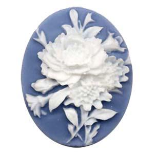 Cameo Cabochon - Acrylic 40x30mm Oval Dahlias - White on Blue x1