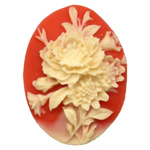 Cameo Cabochon - Acrylic 40x30mm Oval Dahlias - Ivory on Hyacinth x1