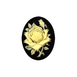 Cameo Cabochon - Acrylic 25x18mm Oval Large Rose - Ivory on Black x1