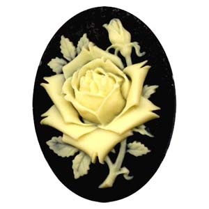Cameo Cabochon - Acrylic 40x30mm Oval Large Rose - Ivory on Black x1