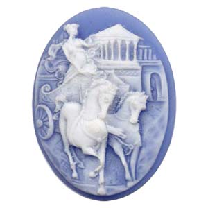 Cameo Cabochon - Acrylic 40x30mm Oval Chariot Lady - White on Blue x1