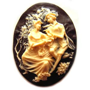 Cameo Cabochon - Acrylic 40x30mm Oval Courting Couple - Ivory on Black x1
