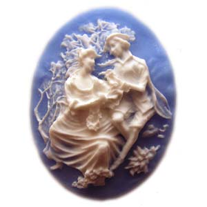 Cameo Cabochon - Acrylic 40x30mm Oval Courting Couple - White on Blue x1