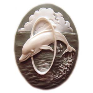 Cameo Cabochon - Acrylic 40x30mm Oval Dolphin - White on Slate x1