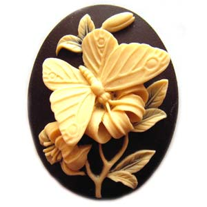 Cameo Cabochon - Acrylic 40x30mm Oval 3D Butterfly (2) - Ivory on Black x1