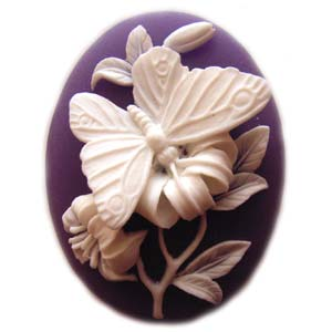 Cameo Cabochon - Acrylic 40x30mm Oval 3-D Butterfly (2) - White on Purple x1