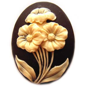 Cameo Cabochon - Acrylic 40x30mm Oval Primroses - Ivory on Black x1