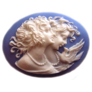 Cameo Cabochon - Acrylic 40x30mm Oval Sisters - White on Blue x1