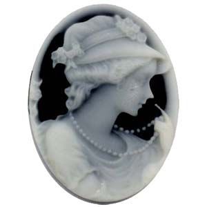 Cameo Cabochon - Acrylic 40x30mm Oval Profile of Lady (Style 3) - Lt Grey on Black x1